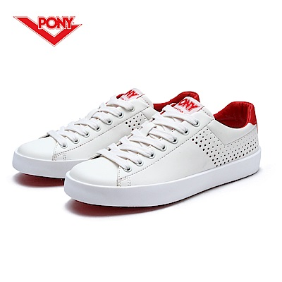 【PONY】TOP STAR 時尚皮革百搭情侶款小白鞋休閒鞋 運動鞋女鞋 紅