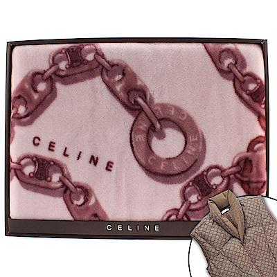 CELINE 經典鎖鏈LOGO保暖絨毛蓋毯-大/紫紅色(贈羽絨背心)