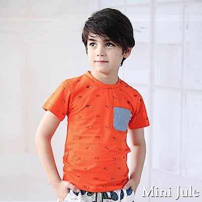 Mini Jule 上衣 滿版星星旗幟字母單口袋短袖T恤(桔)