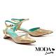 高跟鞋 MODA Luxury 奢華閃耀拼接後繫帶尖頭高跟鞋-金 product thumbnail 1