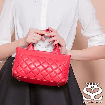 SOFER 輕軟羊皮菱格紋手提兩用包 - 薔薇紅