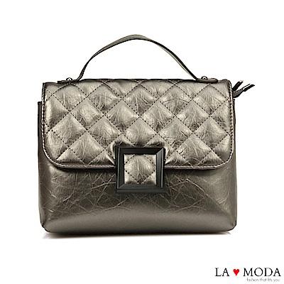 La Moda 小香風菱格紋肩帶可換肩背斜背鍊條包(銀)