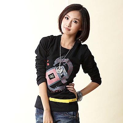 【TOP GIRL】薄絨布T恤-黑色