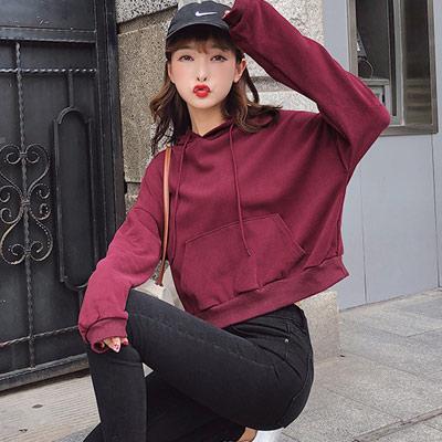 純色抽繩連帽短版長袖上衣 (共三色)-Kugi Girl