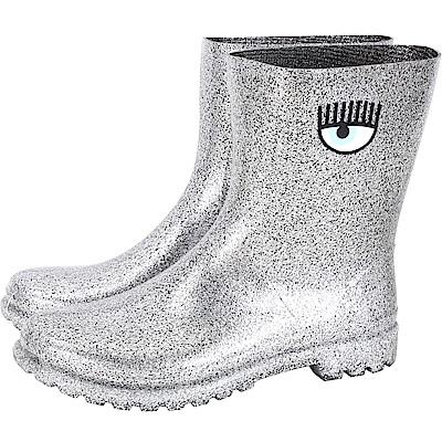 Chiara Ferragni Rainboot 眨眼圖騰低筒雨靴(亮片銀)