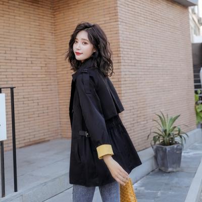 大翻領反摺袖雙插口袋時尚風衣M-XL(共二色)-SZ