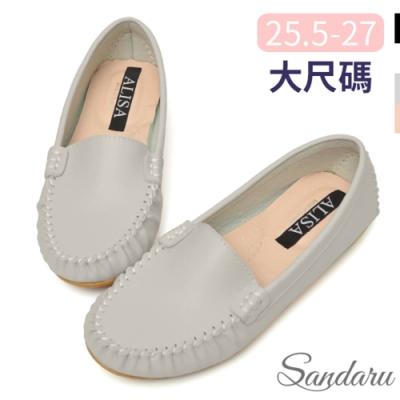 山打努SANDARU-大尺碼鞋 國民豆豆鞋 素面極簡軟底休閒鞋-灰