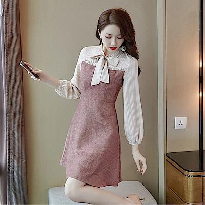 DABI 韓系時尚顯瘦蝴蝶結田園風復古長袖洋裝