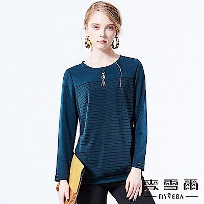 【麥雪爾】韓系簡約條紋金屬扣飾上衣