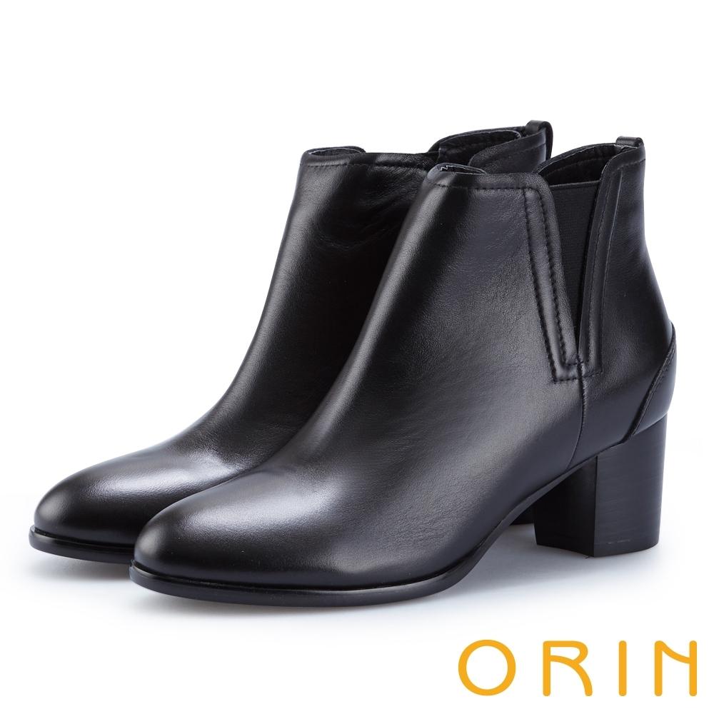 ORIN 俐落時髦 素面彈力鬆緊真皮粗跟短靴-黑色