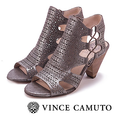 VINCE CAMUTO 氣質簍空刻紋魚口高跟鞋-銀色