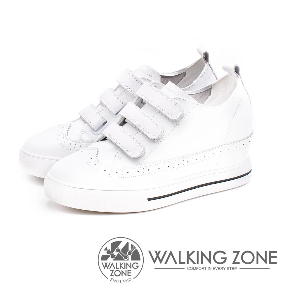 WALKING ZONE 優雅壓紋內增高鬆糕女鞋-白(另有黑)