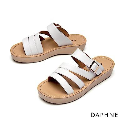 達芙妮DAPHNE 涼鞋-縷空幾何條帶厚底拖鞋-米白