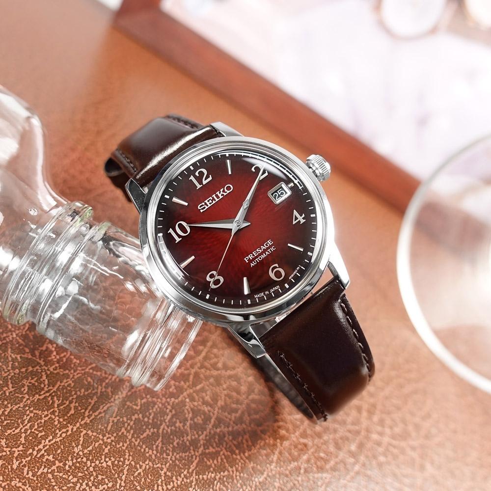 SEIKO 精工 PRESAGE 調酒師系列 機械錶 自動上鍊 牛皮手錶-紅x銀x褐/38mm