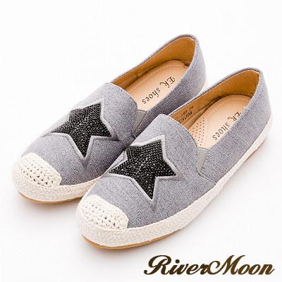 River&Moon大尺碼-韓版星星貼鑽麻編懶人鞋-灰