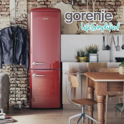 【gorenje】 307L 歐洲製 一級能效變頻獨立式復古型電冰箱 ONRK193R 棗紅