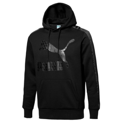 PUMA-男性流行系列Luxe長厚連帽T恤-黑色-歐規