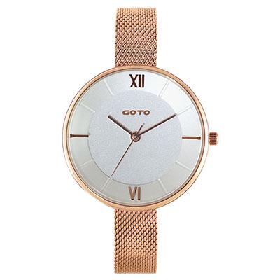 GOTO Marine 海洋系列精品時尚手錶-IP玫白/33mm