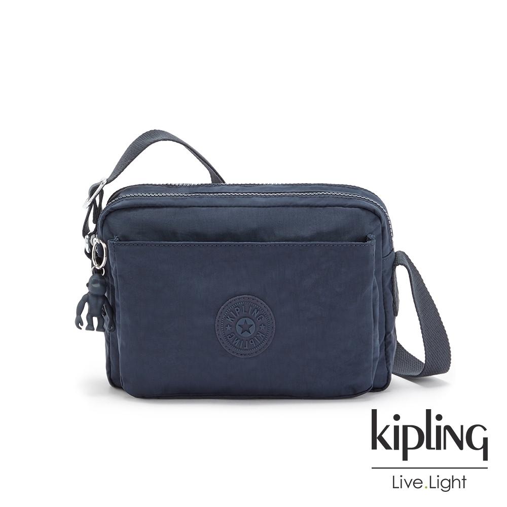 Kipling 都市沉穩藍多層隨身斜背包-ABANU M