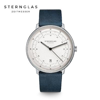 STERNGLAS 德國希丹格斯 S01-HH10-VI13 緞面銀儀表白盤文青石英錶(瓷藍錶帶) 42mm 男/女錶