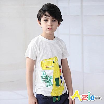 Azio Kids 上衣  繽紛Q版鱷魚線袖字母短袖T恤(白)