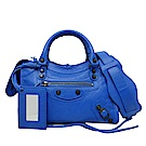 BALENCIAGA MINI CITY黑釦小羊皮手提/斜背兩用包(藍色)