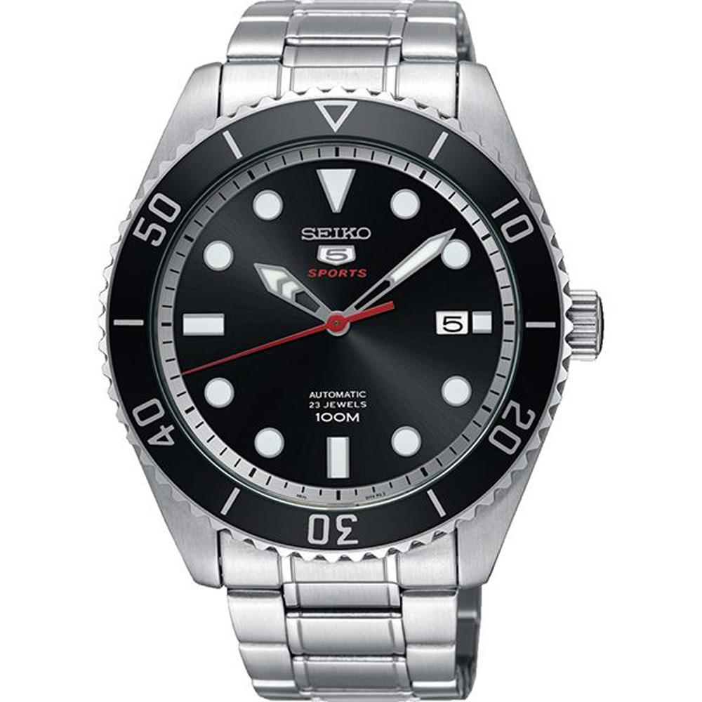 SEIKO 精工 盾牌五號 時尚機械手錶 SRPB91J1-黑X銀/44mm