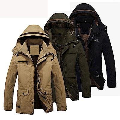 美國熊 中長款加絨加厚 可拆卸連帽保暖防寒外套夾克