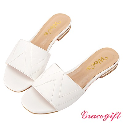 Grace gift X Wei-聯名立體壓紋一字寬版拖鞋 白