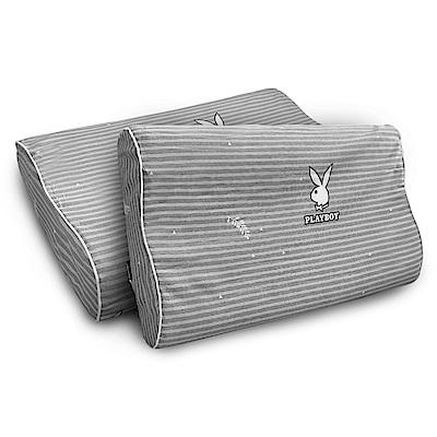 PLAYBOY 吸濕排汗專利 純棉人體工學曲線乳膠枕