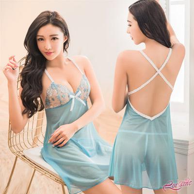 性感睡衣 夢幻水藍柔紗交叉美背二件式性感睡衣(藍F) Lorraine