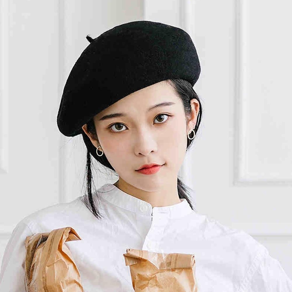 Redberry 秋冬羊毛貝雷帽 羊毛帽 復古帽 畫家帽 女性時尚潮流帽 10色系