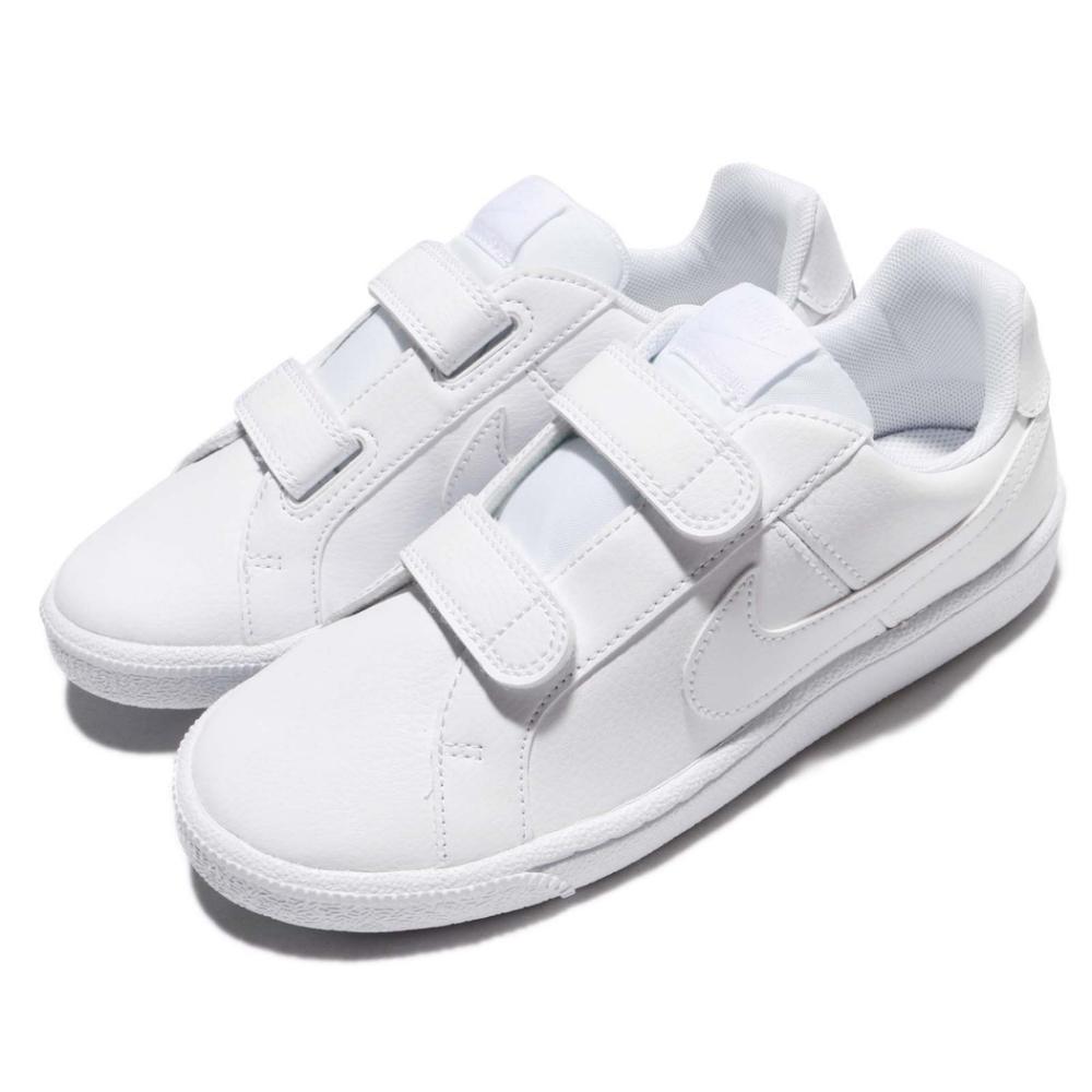 Nike 休閒鞋 Court Royale PSV 童鞋 皮革 基本款 魔鬼氈 低筒 穿搭推薦 全白 白 833536102
