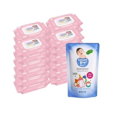 貝比Q EDI超厚超純水柔濕巾(80抽)x24包/箱/無香料+雪芙蘭親貝比 嬰幼兒奶瓶清潔劑補充包600ml