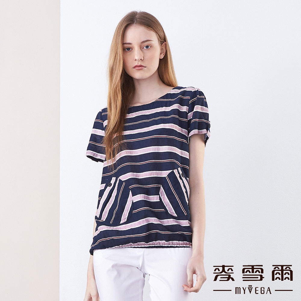 【麥雪爾】棉質造型口袋條紋花苞上衣