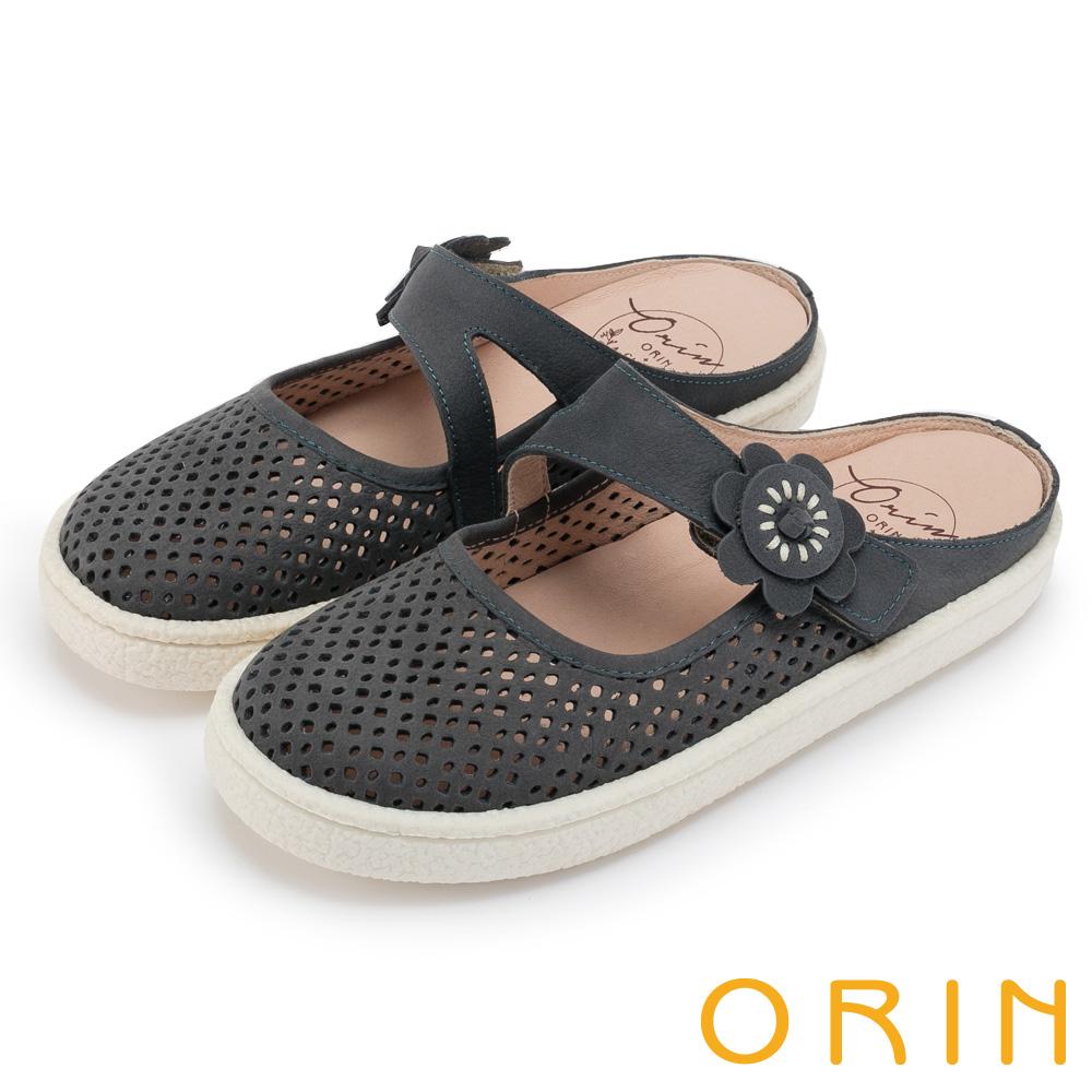 ORIN 甜美舒適 皮革花朵點綴半包式懶人鞋-藍色