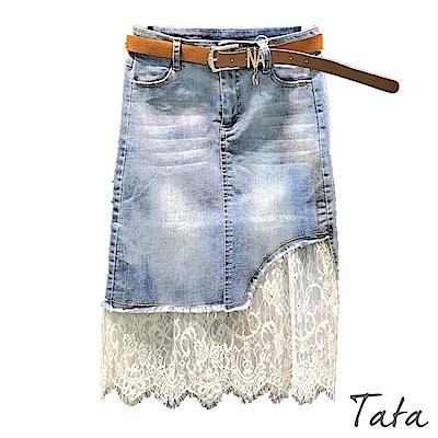 下擺抽鬚拼接蕾絲牛仔裙 TATA-(XS~M)
