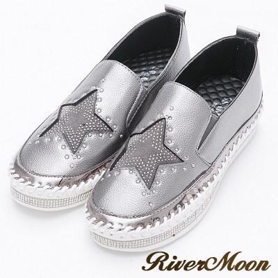 River&Moon韓版經典星星鑽石厚底懶人鞋-灰銀