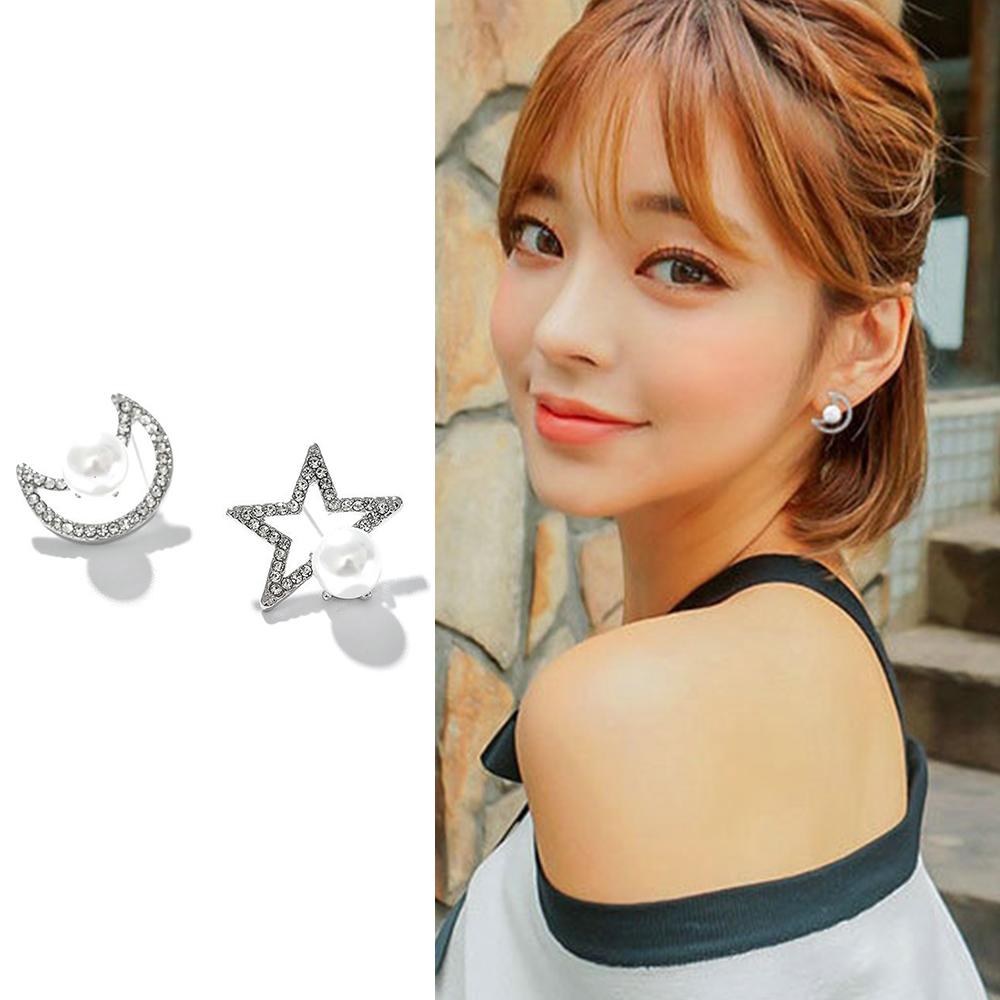 梨花HaNA 韓國925銀針星月妝點珍珠滿鑽耳環