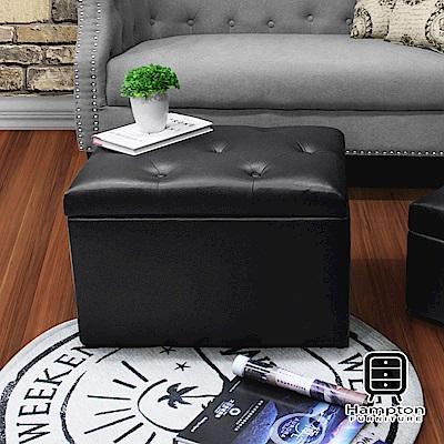 漢妮Hampton-莫里斯拉扣儲物椅凳(大)-皮面黑