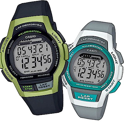 CASIO新時代輕量型混色運動休閒組合錶(LWS-1000H-8+WS-1000H-3)綠