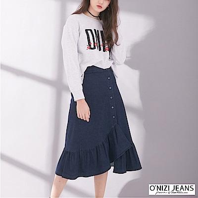 onizi-牛仔荷葉裙-女-深藍