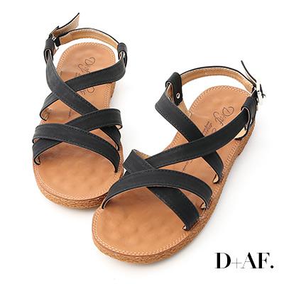 D+AF 好感率真.交叉線條平底涼鞋*黑