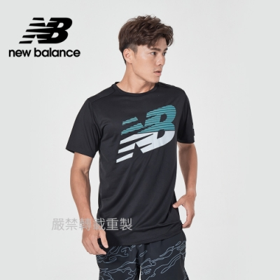 【New Balance】DRY運動短袖上衣_男性_黑色_AMT03204BPT