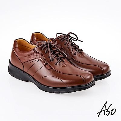 A.S.O 霸足氣墊 油感綁帶氣墊休閒皮鞋 茶