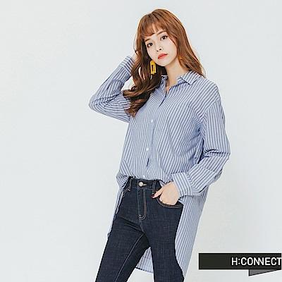 H:CONNECT 韓國品牌 女裝-隨性設計直條襯衫-藍