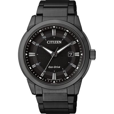 CITIZEN 星辰 Eco-Drive 都會時尚光動能腕錶-黑/42mm BM7145-51E