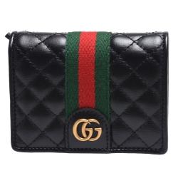 GUCCI 經典金屬雙G LOGO綠紅綠織帶絎縫菱格紋牛皮暗釦短夾(黑)