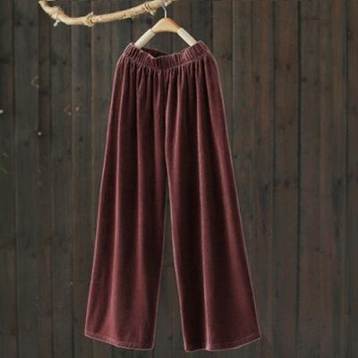 霧面質感肌理感單色鬆緊腰休閒寬鬆直筒寬管長褲-設計所在