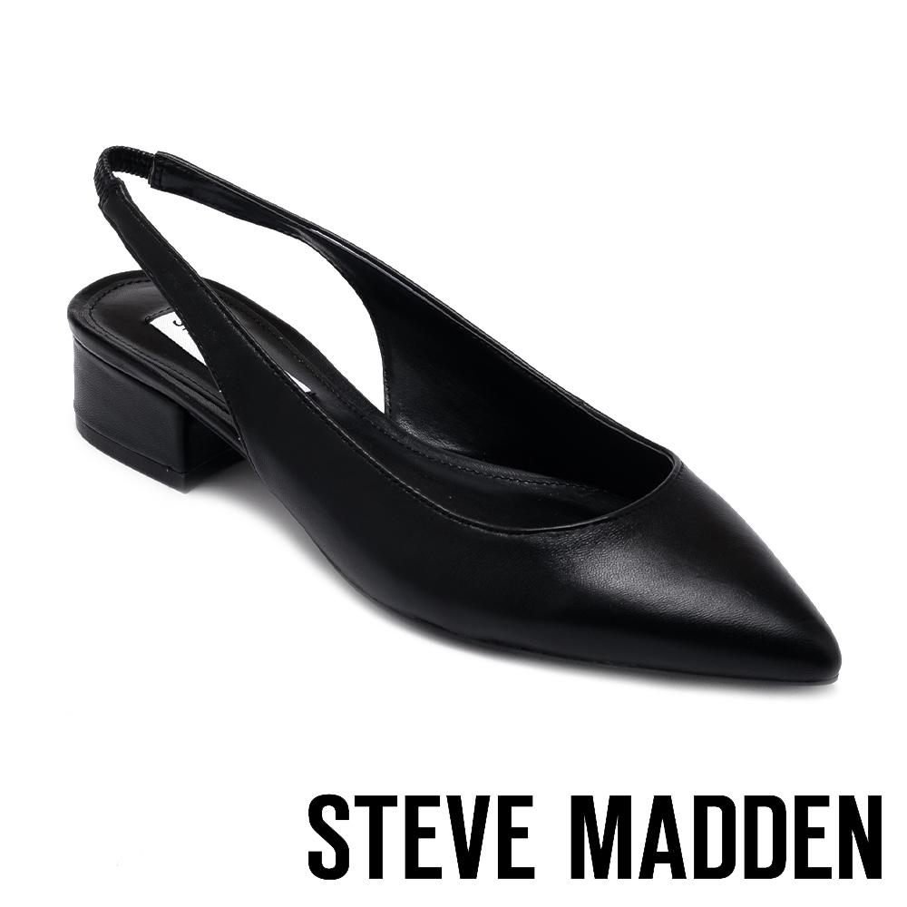 STEVE MADDEN-BLITZ 簡約素面V型鬆緊後拉帶尖頭低跟鞋-黑色